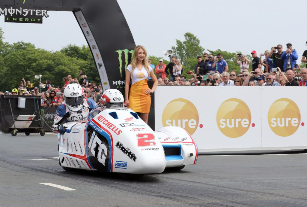 PACEMAKER, BELFAST, 10/6/2016:Ben and Tom Birchall (IEG Honda) on the start line of the second Sidecar TT race on the Isle of Man today. PICTURE BY STEPHEN DAVISON