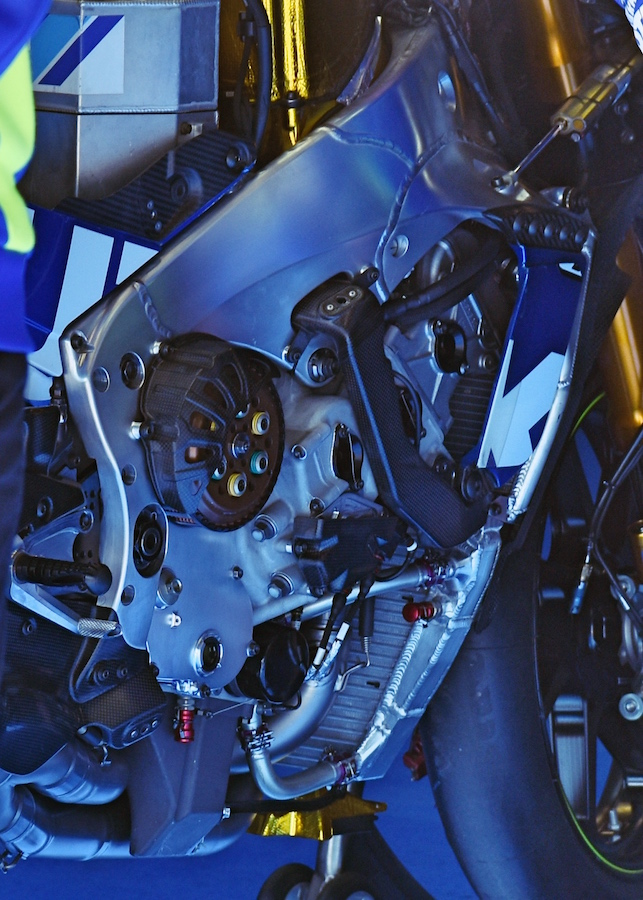 An under-the-fairing view of the Suzuki MotoGP chassis with carbon front engine mount