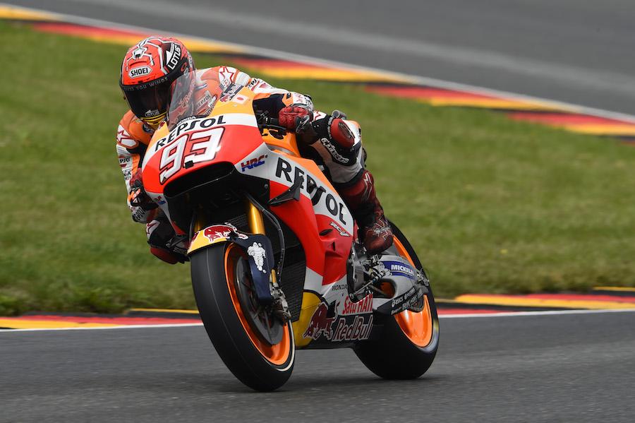 Marquez, out on slicks, German MotoGP Race 2016