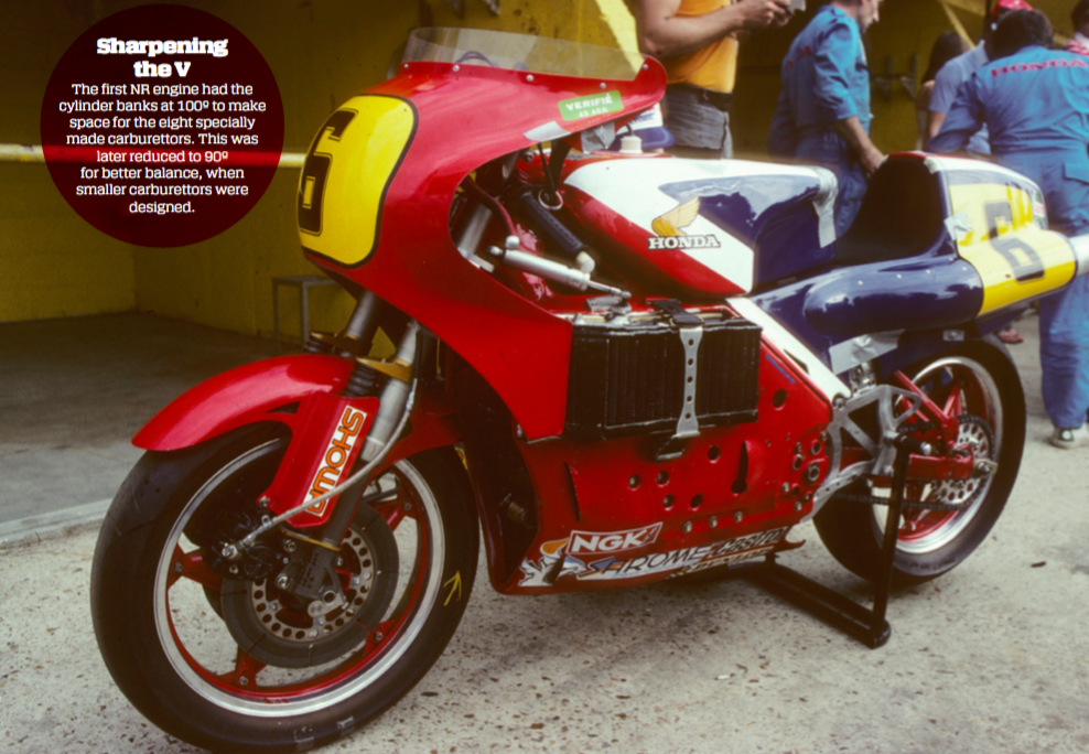 Note the upside- down fork and carbon fibre brakes – pioneering developments that are now commonplace in racebikes