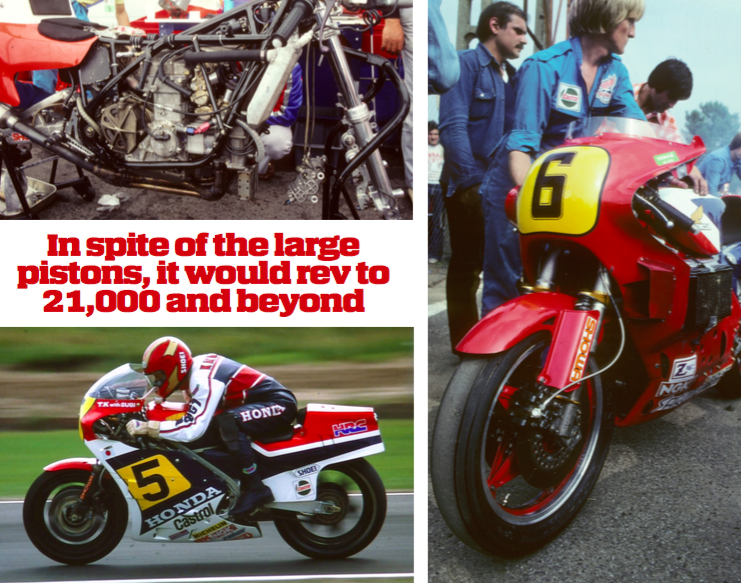 In 1980 the NR500 got a major redesign with a Ron WIlliams frame and 18-inch wheels Left: Katayama kept riding in the 500s after the NR500 was retired and came fifth in 1983