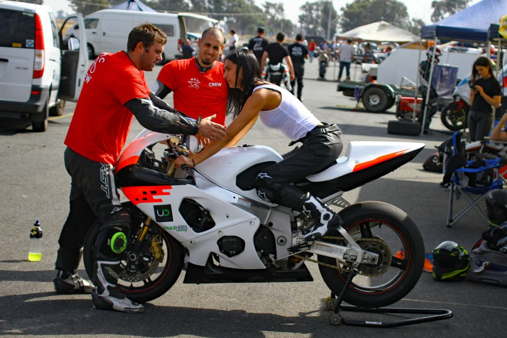Jessica Rose taking some cues on body position and steering inputs on the MVTC hire bike