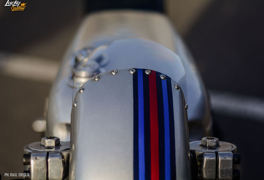 Fairing is a repurposed mudguard with Martini Racing colours