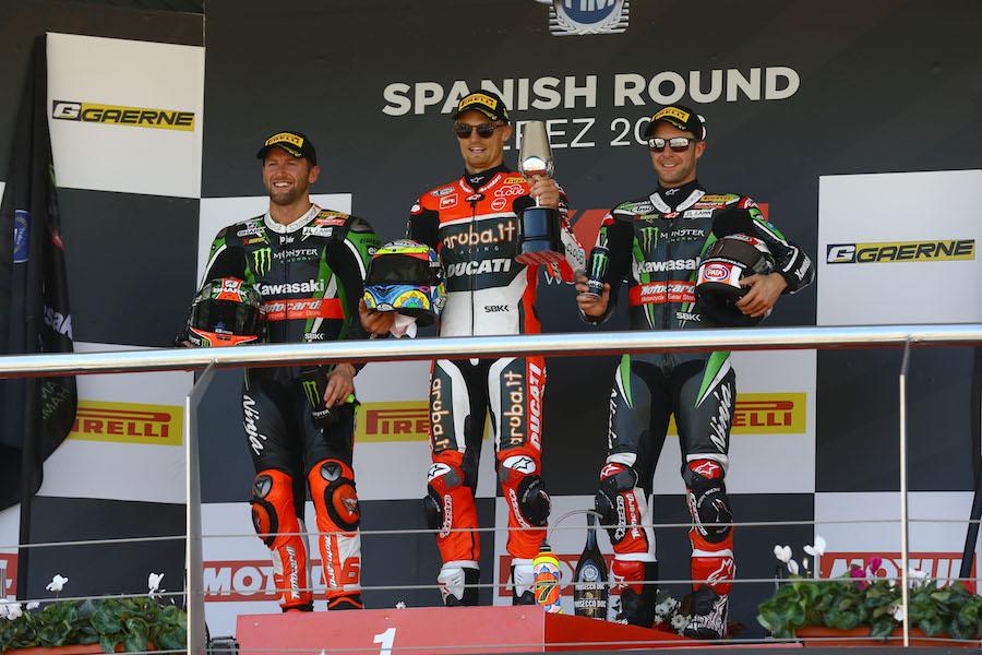 Sykes, Davies and Jonathan Rea, WSBK Race1, Jerez WSBK 2016