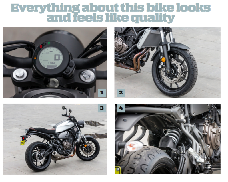 1. The XSR's dash is stylishly minimal but has everything you would need 2. Twin 282mm Wave discs up front pull up the XSR confidently 3. The XSR doesn't take up a lot of space – it's short and sweet 4. Rear suspension on the XSR is firm and it rides with a feeling of plantedness and stability