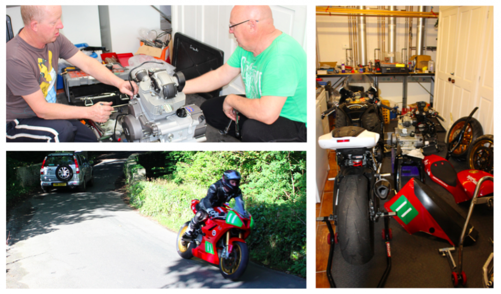 Brian Rosser (right) and mechanic Locky start rebuilding the Ducati from the ground up Stripped Ducati with Royce's Suzuki in the cramped B&B laundry turned into a workshop