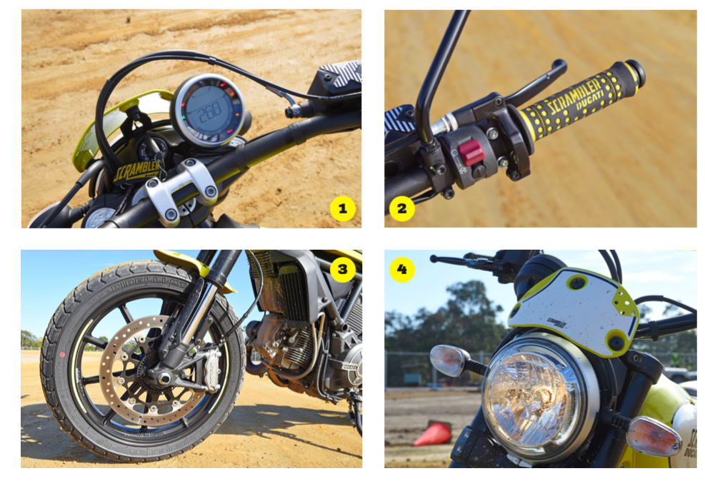 1. Standard Scrambler dash makes you want to rock around the clock 2. Special flat track hand grips 3. Alloy spoke wheels 4. Sport headlight fairing is made for fast speeds and style, rather than roost protection