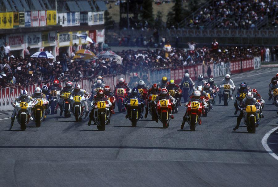 Schwantz 34, Rainey 17, Sarron7, Lawson 3, De Radigues 12, Gardner 1, Start Italian 500GP, 1988