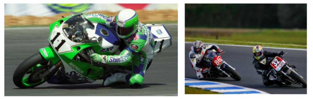 LEFT:On the Kawasaki ZXR750 in 1990 – the early days of the Superbike World Championship RIGHT: Phillis and the Mick Hone Suzuki GSX1100 lead at Phillip Island