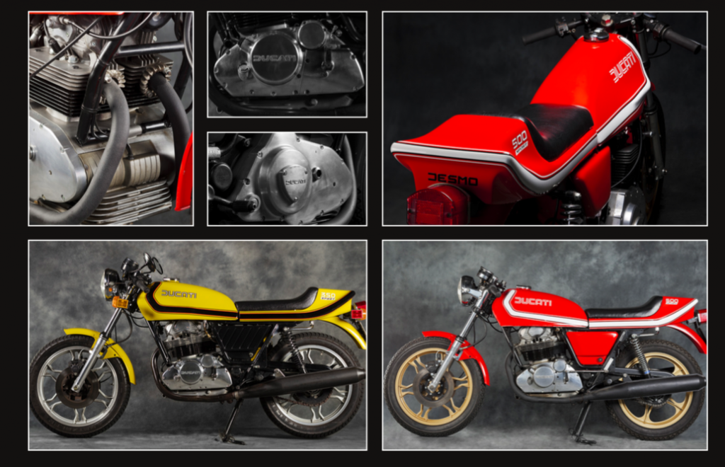 The red bike is from the last batch (67) of 500 Sport Desmos produced for Australia in 1983. The yellow bike is a 1978 350cc Sport Desmo – possibly the only one in the country