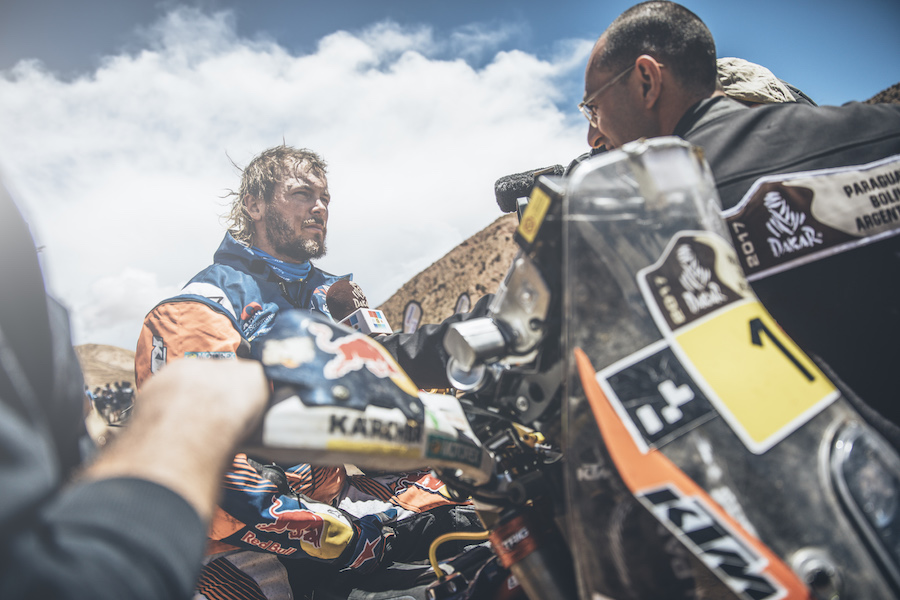 Toby Price (AUS) of Red Bull KTM Factory Team at the end of the stage 3 of Rally Dakar 2017 from San Miguel de Tucuman to San Salvador de Jujuy, Argentina on January 4, 2017