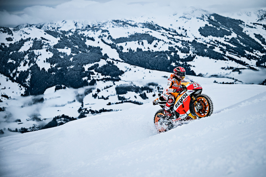 Marc Marquez performing during Moto GP showrun in Kitzbuehel, Austria on January 12th, 2017.