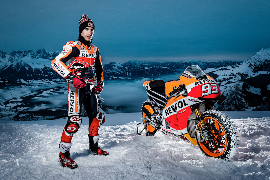 Marc Marquez posing for a portrait before Moto GP showrun in Kitzbuehel, Austria on January 12th, 2017.