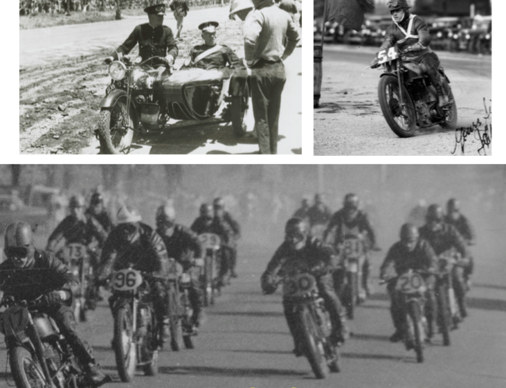 Left: In 1937, the crown sergeant conducts a briefing from the sidecar of an AJS outfit at Port Elliot, South Australia Right: Jimmy Pringle corners his Norton at the Vale Circuit in Bathurst in 1935