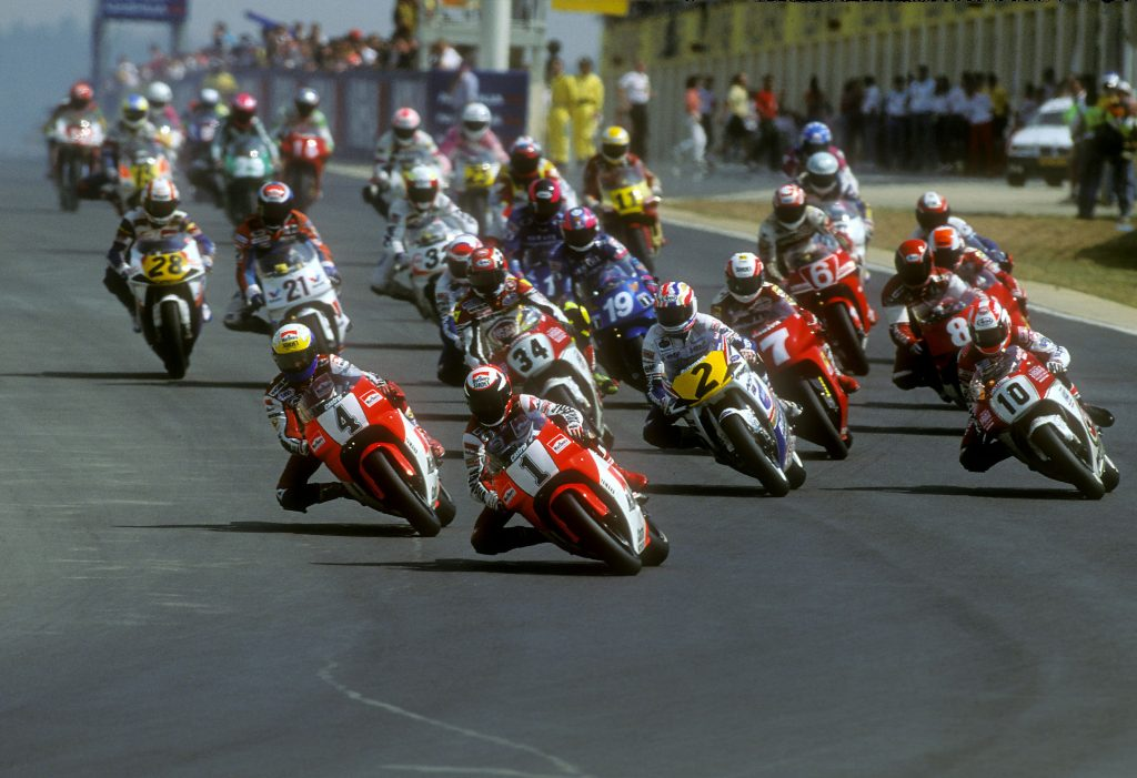 Kocinski, Rainey, Schwantz, Doohan, Lawson, Chandler, GP 1992
